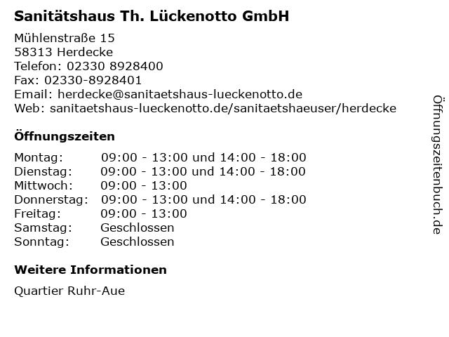 Sanitätshaus Th. Lückenotto GmbH in Herdecke: Adresse und Öffnungszeiten