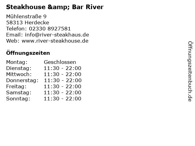 Steakhouse & Bar River in Herdecke: Adresse und Öffnungszeiten
