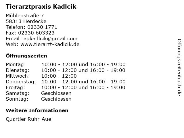 Tierarztpraxis Kadlcik in Herdecke: Adresse und Öffnungszeiten