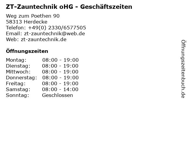 ZT-Zauntechnik oHG - Geschäftszeiten in Herdecke: Adresse und Öffnungszeiten