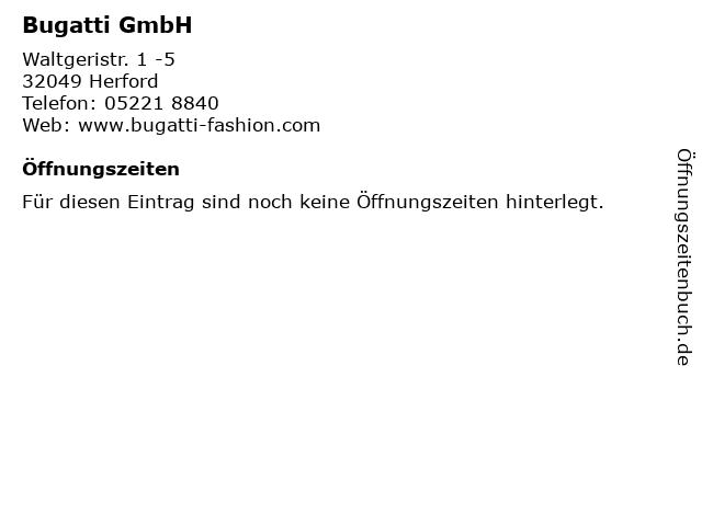 """ᐅ Öffnungszeiten """"bugatti gmbh""""   waltgeristr. 1 -5 in herford"""