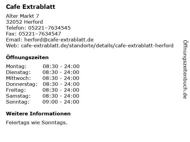 Cafe Extrablatt in Herford: Adresse und Öffnungszeiten