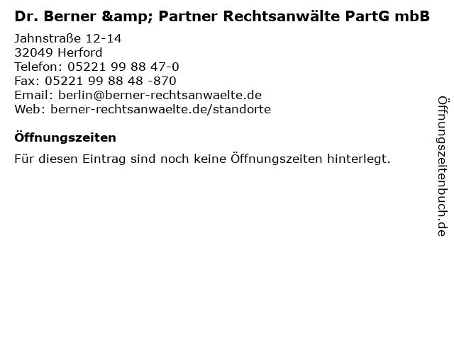 Dr. Berner & Partner Rechtsanwälte PartG mbB in Herford: Adresse und Öffnungszeiten