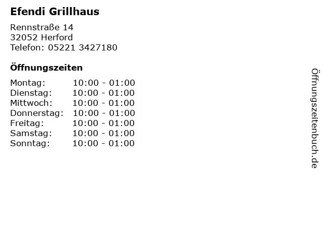 Efendi Grillhaus in Herford: Adresse und Öffnungszeiten