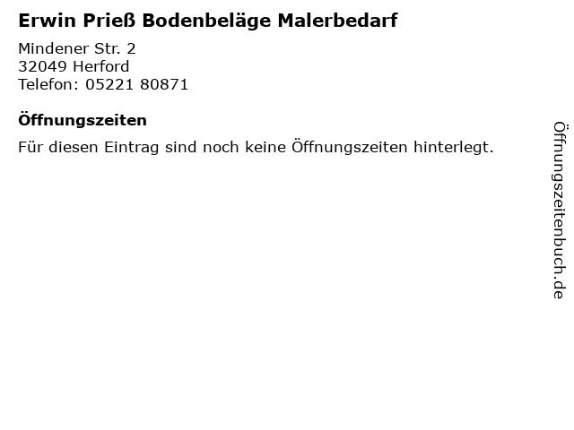 Erwin Prieß Bodenbeläge Malerbedarf in Herford: Adresse und Öffnungszeiten