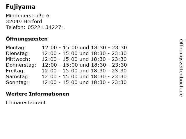 Fujiyama in Herford: Adresse und Öffnungszeiten