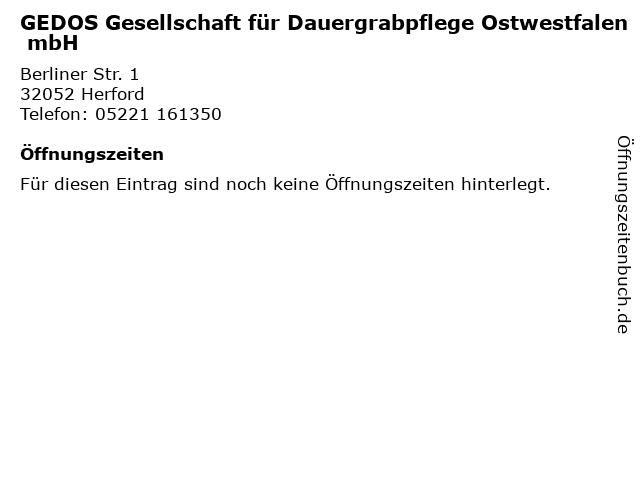 GEDOS Gesellschaft für Dauergrabpflege Ostwestfalen mbH in Herford: Adresse und Öffnungszeiten