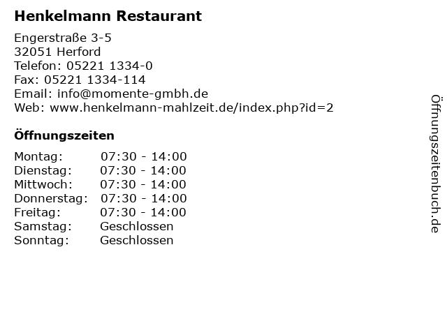 Henkelmann Restaurant in Herford: Adresse und Öffnungszeiten