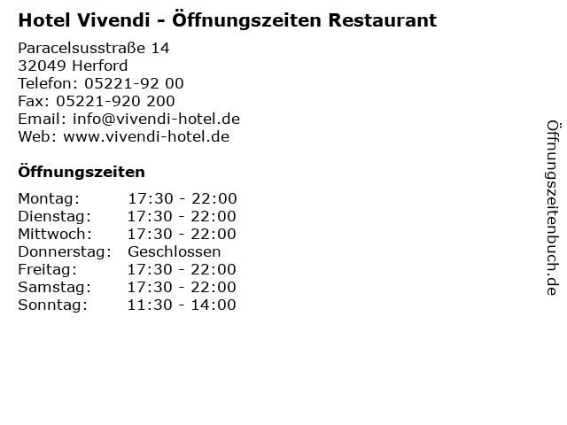 Hotel Vivendi - Öffnungszeiten Restaurant in Herford: Adresse und Öffnungszeiten