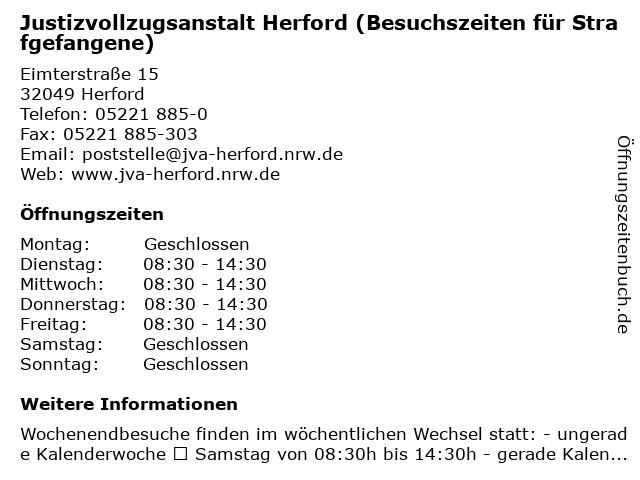 Justizvollzugsanstalt Herford (Besuchszeiten für Strafgefangene) in Herford: Adresse und Öffnungszeiten