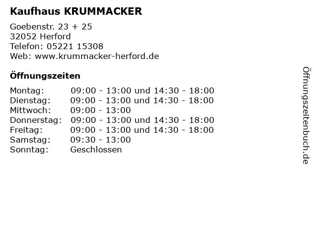 Kaufhaus KRUMMACKER in Herford: Adresse und Öffnungszeiten