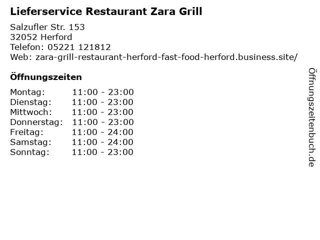 Lieferservice Restaurant Zara Grill in Herford: Adresse und Öffnungszeiten