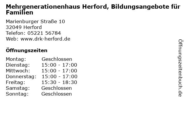 Mehrgenerationenhaus Herford, Bildungsangebote für Familien in Herford: Adresse und Öffnungszeiten
