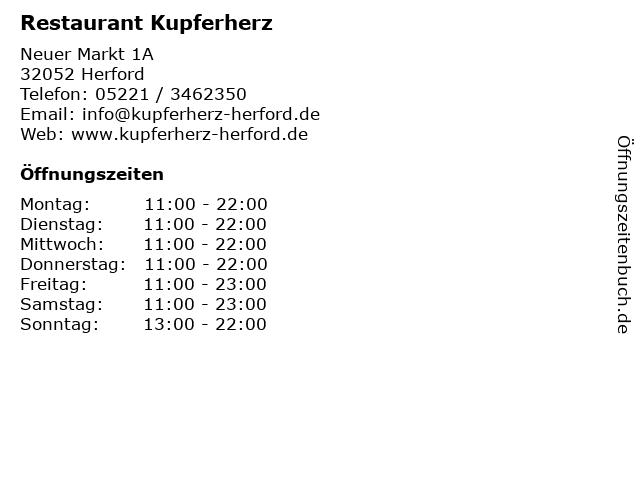 Restaurant Kupferherz in Herford: Adresse und Öffnungszeiten