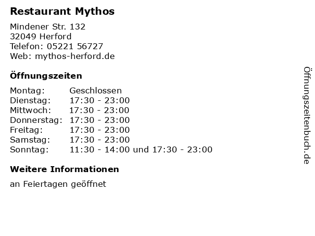 Restaurant Mythos in Herford: Adresse und Öffnungszeiten