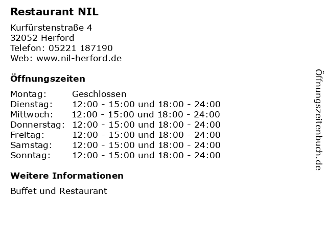 Restaurant NIL in Herford: Adresse und Öffnungszeiten