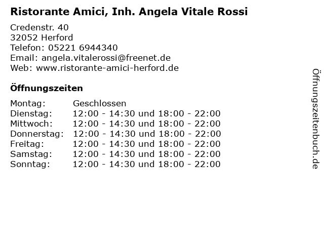 Ristorante Amici, Inh. Angela Vitale Rossi in Herford: Adresse und Öffnungszeiten