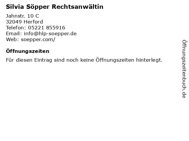 Silvia Söpper Rechtsanwältin in Herford: Adresse und Öffnungszeiten