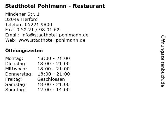 Stadthotel Pohlmann - Restaurant in Herford: Adresse und Öffnungszeiten