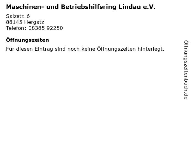 Maschinen- und Betriebshilfsring Lindau e.V. in Hergatz: Adresse und Öffnungszeiten