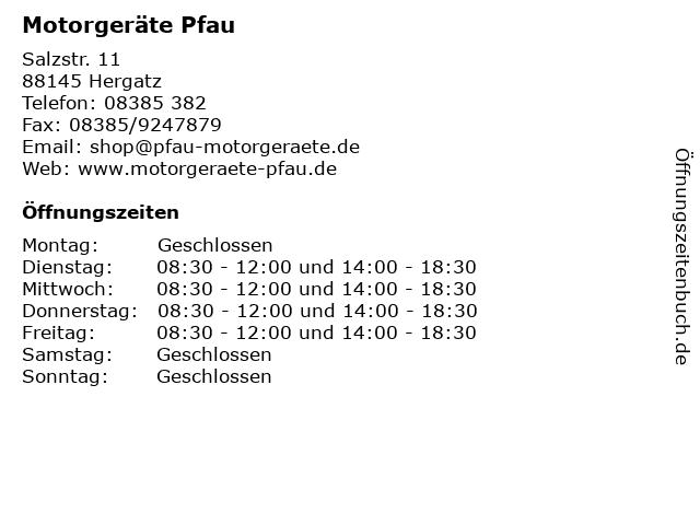 Motorgeräte Pfau in Hergatz: Adresse und Öffnungszeiten