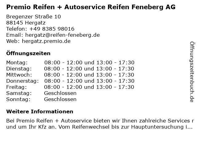 Premio Reifen + Autoservice Reifen Feneberg AG in Hergatz: Adresse und Öffnungszeiten