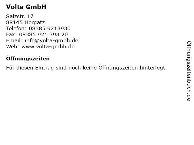 Volta GmbH in Hergatz: Adresse und Öffnungszeiten
