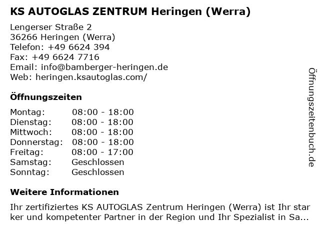 KS AUTOGLAS ZENTRUM Heringen (Werra) in Heringen (Werra): Adresse und Öffnungszeiten