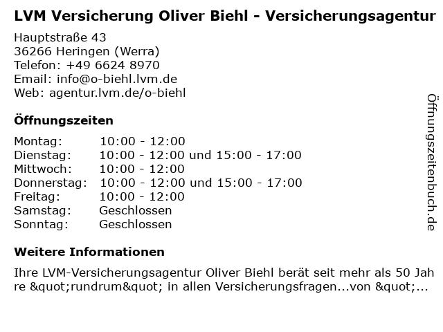 LVM Versicherung Oliver Biehl - Versicherungsagentur in Heringen (Werra): Adresse und Öffnungszeiten