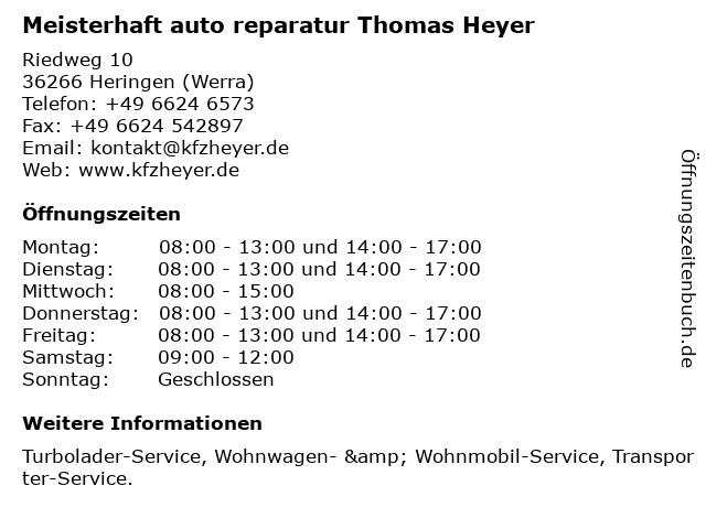 Meisterhaft auto reparatur Thomas Heyer in Heringen (Werra): Adresse und Öffnungszeiten