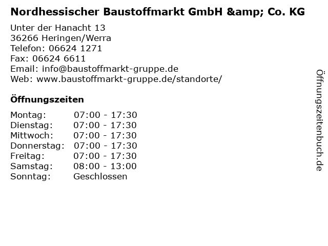 Nordhessischer Baustoffmarkt GmbH & Co. KG in Heringen/Werra: Adresse und Öffnungszeiten