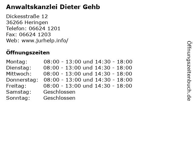 Anwaltskanzlei Dieter Gehb in Heringen: Adresse und Öffnungszeiten