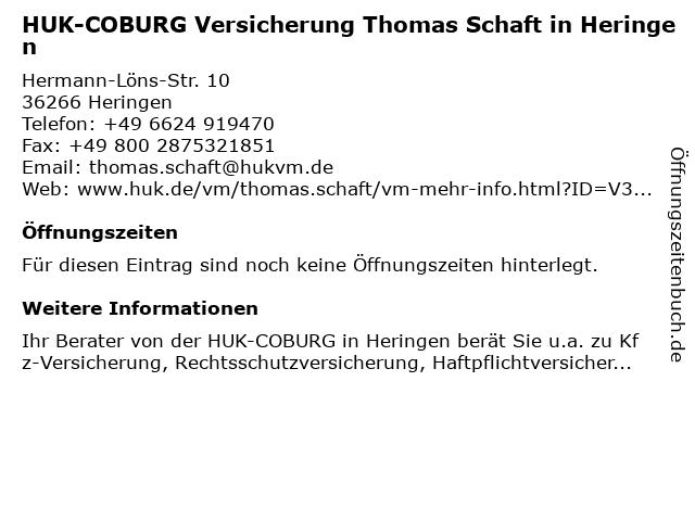 HUK-COBURG Versicherung Thomas Schaft in Heringen in Heringen: Adresse und Öffnungszeiten