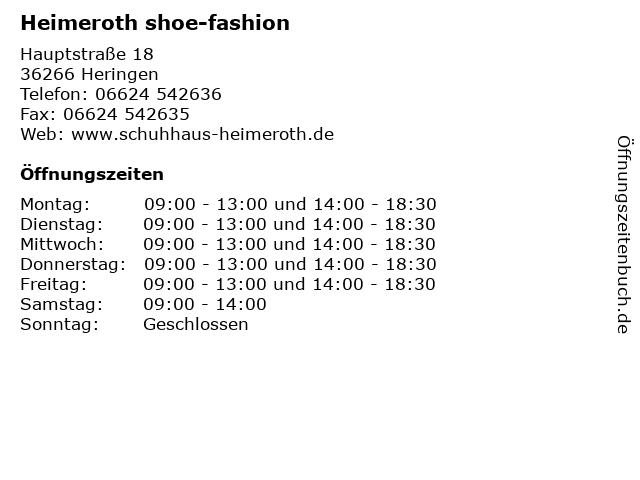 Heimeroth shoe-fashion in Heringen: Adresse und Öffnungszeiten
