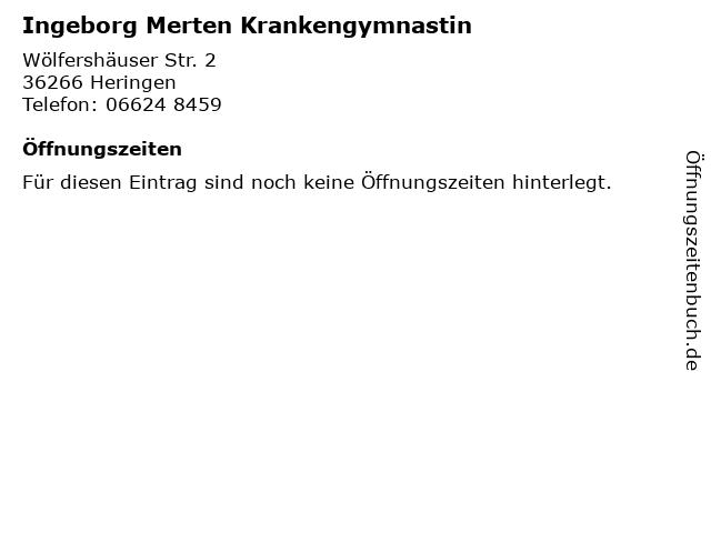 Ingeborg Merten Krankengymnastin in Heringen: Adresse und Öffnungszeiten