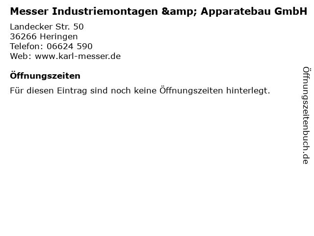 Messer Industriemontagen & Apparatebau GmbH in Heringen: Adresse und Öffnungszeiten
