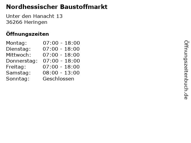 Nordhessischer Baustoffmarkt in Heringen: Adresse und Öffnungszeiten