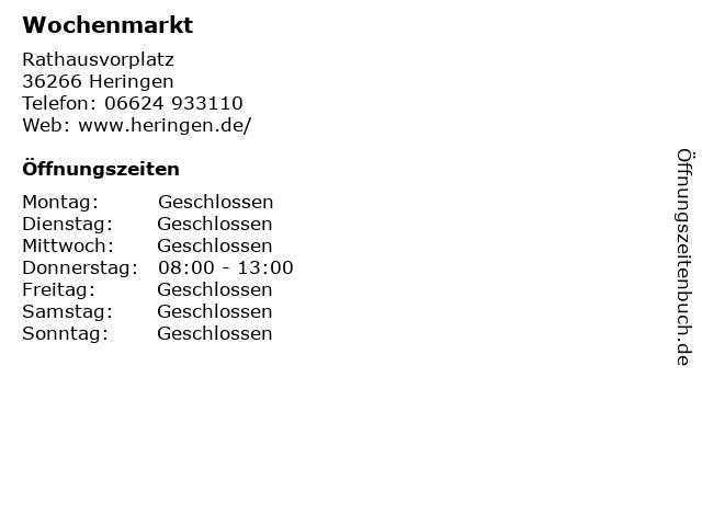 Wochenmarkt in Heringen: Adresse und Öffnungszeiten
