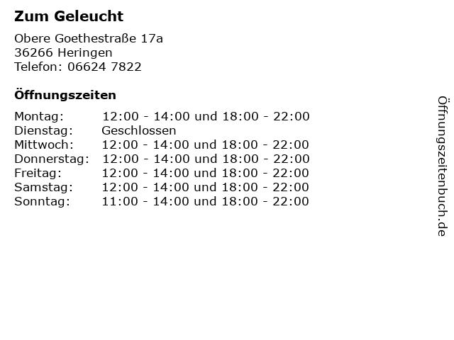 Zum Geleucht in Heringen: Adresse und Öffnungszeiten