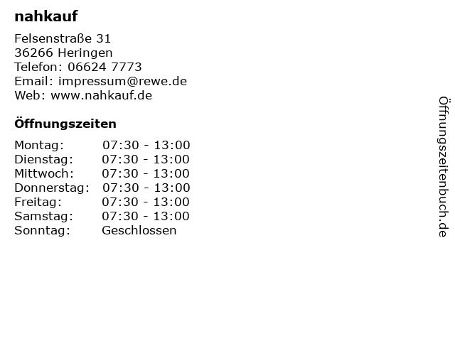 nahkauf in Heringen: Adresse und Öffnungszeiten