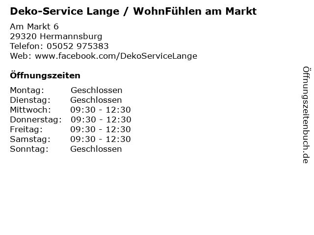 Deko-Service Lange / WohnFühlen am Markt in Hermannsburg: Adresse und Öffnungszeiten