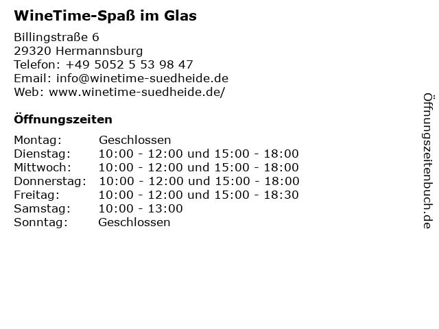 WineTime-Spaß im Glas in Hermannsburg: Adresse und Öffnungszeiten