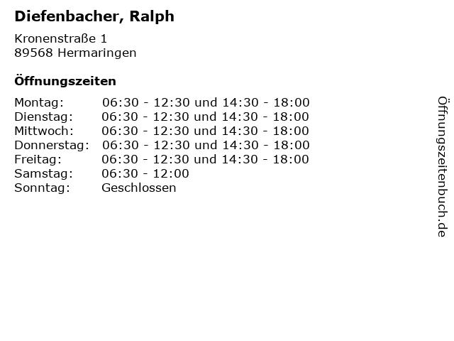 Diefenbacher, Ralph in Hermaringen: Adresse und Öffnungszeiten