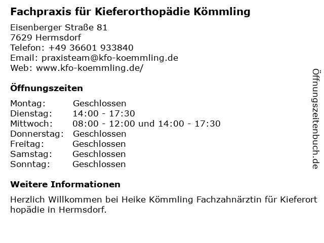 Heike Kömmling Fachzahnärztin für Kieferorthopädie in Hermdorf: Adresse und Öffnungszeiten