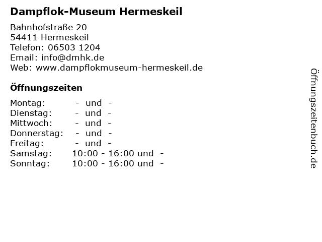 Dampflok-Museum Hermeskeil in Hermeskeil: Adresse und Öffnungszeiten