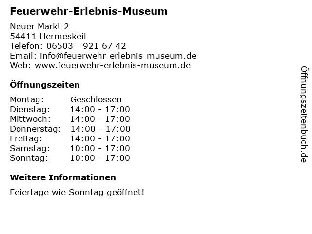 Feuerwehr-Erlebnis-Museum in Hermeskeil: Adresse und Öffnungszeiten