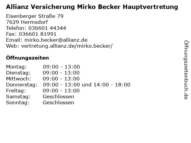 Allianz Versicherung - Hauptvertretung Mirko Becker in Hermsdorf: Adresse und Öffnungszeiten
