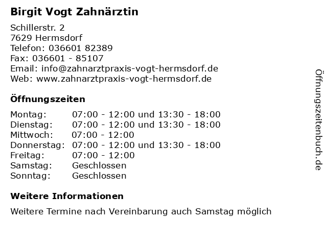 Birgit Vogt Zahnärztin in Hermsdorf: Adresse und Öffnungszeiten