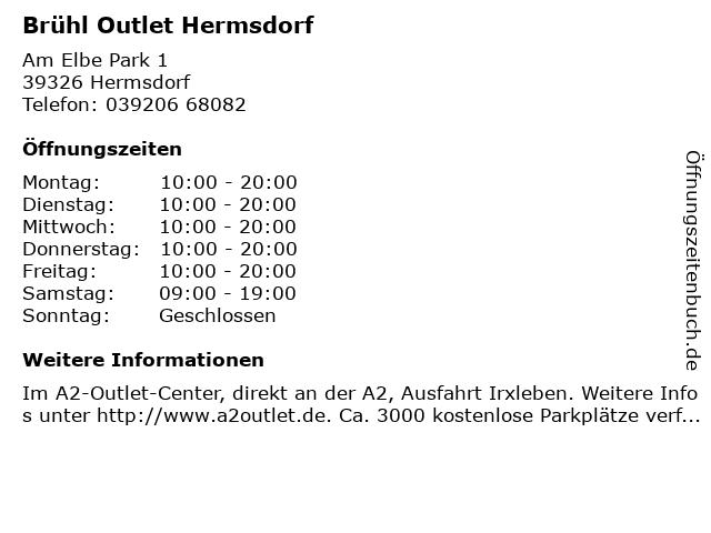 Brühl Outlet Hermsdorf in Hermsdorf: Adresse und Öffnungszeiten