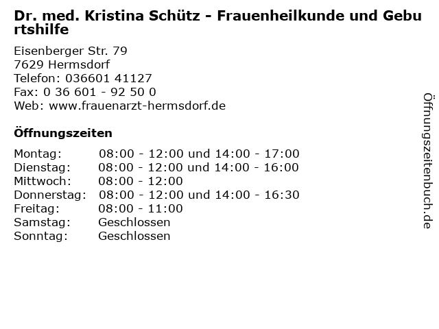 Dr. med. Kristina Schütz - Frauenheilkunde und Geburtshilfe in Hermsdorf: Adresse und Öffnungszeiten